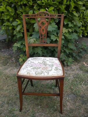 Antique Edwardian inlaid mahogany bedroom / hall chair. repaired