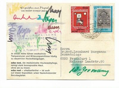 Orginal Autogramm Karte, Mount Everest, Nepal, Expedition 1972, Dr. Herrligkot