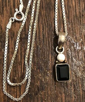 Silpada 925 Sterling Silver Black Glass Or Gem Pendant Necklace 16""