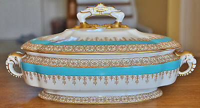 Antique Royal Worcester Turquoise Covered Dish Elephant Handles W2103 1890