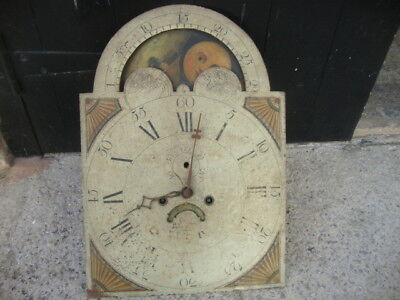 Antique Long Case Grandfather Clock Dial And Movement Rolling Moon