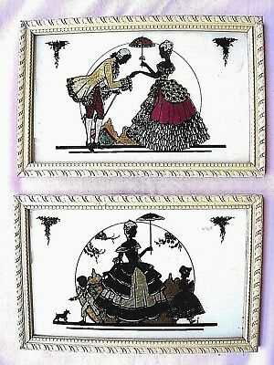 Foil Pictures( Lot of 2)....French Scenes in ca 1760's...Vintage.....Colorful...