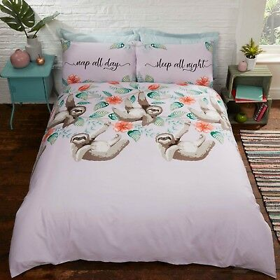 Rapport Sloth Cute Novelty Floral Duvet Cover Bedding Set Pink