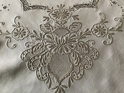 Exquisite Large Vintage Linen Tablecloth ~ Hand Embroidered Madeira Work