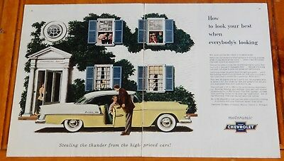 1955 Chevy Bel Air Coupe With Fine American Home Ad - Vintage 50S Classic Car
