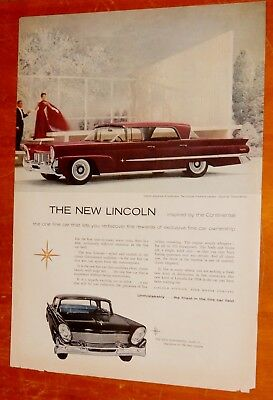1959 Lincoln Premier & Continental Mark Iii Ad / Retro 50S American Vintage Car