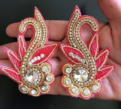 2 pc of Indian Latest Design Stone bead Zari Applique//Motif Indian Ethnic style