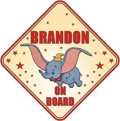 Dumbo Personalised Car Window Sign - Baby On Board Child  Baby Child Kids Safety