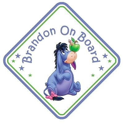 Eeyore Personalised Car Window Sign Blue - Baby On Board Child  Baby Child Kids