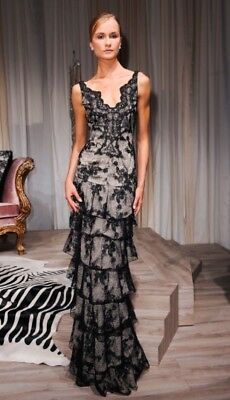 Alice And Olivia Nwt  Powell Black Lace Evening Gown Size 8 Originally 1298