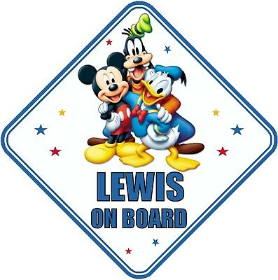 Mickey Mouse & Friends Personalised Car Window Sign - Baby On Board