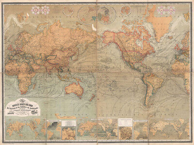 1870 Map of the World on Mercator Projection -  CANVAS or PRINT WALL ART