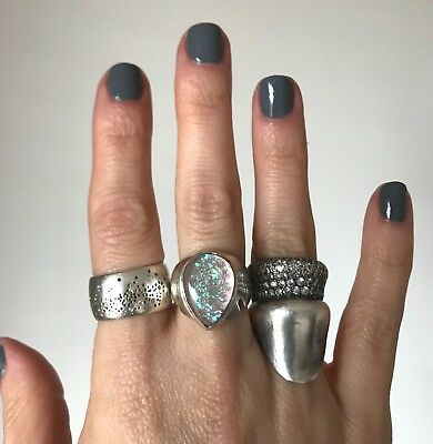 Vintage Sterling Silver Opal Glass Ring - Gorgeous and Unique!  Size 6.25 - 6.5