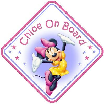 Minnie Mouse Personalised Car Window Sign - Baby On Board Child  Baby Child Kids