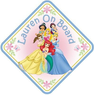 Princesses Personalised Car Window Sign - Baby On Board Child  Baby Child Kids