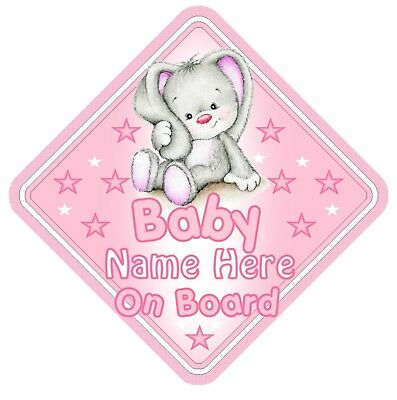 Pink Rabbit Personalised Car Window Sign - Baby On Board Child  Baby Child Kids