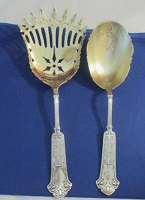 Antique George Sharp Coin Silver Arabesque Macaroni Fork & Spoon 1865