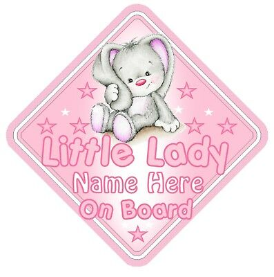 Rabbit Little Lady Personalised Car Window Sign - Baby On Board Child  Safety