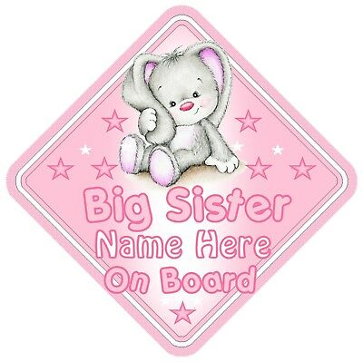 Rabbit Big Sister Personalised Car Window Sign - Baby On Board Child