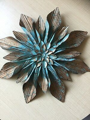 LARGE RUSTIC COPPER & Turquoise Flower Metal Wall Decor. Gorgeous ...