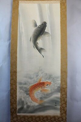 """Japanese hanging scroll Hand painted on Silk  """"Carps """"  with box by Gyokusui 玉水"""