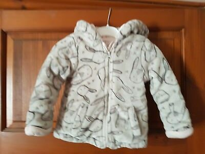 Gorgeous fleece bunny print hoodie by F&F size 12-18 months in Excellent cond'