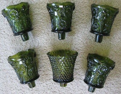 6 Vintage HOMCO Green Glass Peg Votive Cup Candle Holders 5 Daisy 1 Hobnail EUC