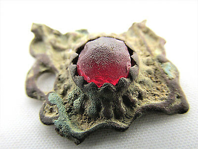 Ancient Bronze ORNAMENT with red stone
