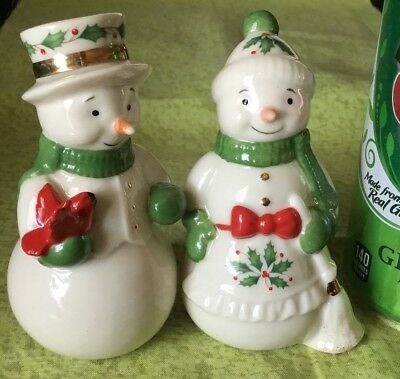 Lenox Holiday Snow Couple Snowman Salt & Pepper Shakers