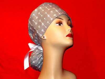 Ponytail Surgical Scrub Hat Scrub Cap Cuffed  Women Ladies Medical  Handmade