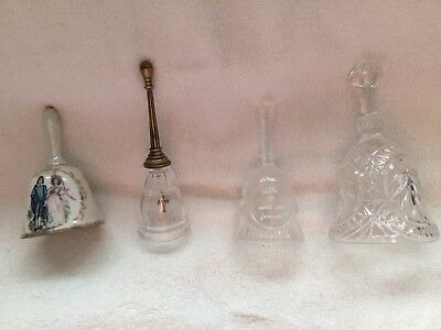 Bell collection, 3 glass, one china Blue Boy and Pinky