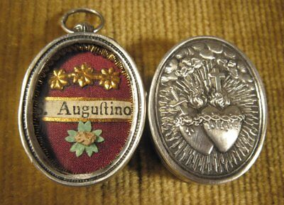 Antique Ornate Silver Case With A Relic Of St.augustine Of Hippo