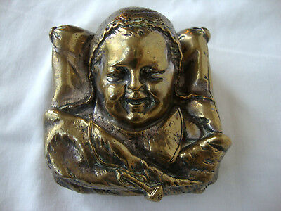 """Antique Silver Plated Brass """"Baby's Head"""" Trinket Box, Circa 19th C ~ Early 20th"""