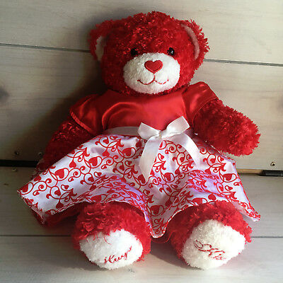 "A66 Build a Bear Hugs Kisses Valentines w/ Dress Plush! 15"" Lovey Stuffed Toy"