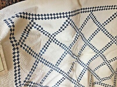 antique old blue and white country quilt