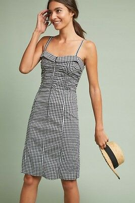 a8a0bfe9f01d NWT Anthropologie Gingham Ruched Dress SOLDOUT XS S M 0 2 4 6 8