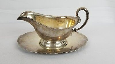 Sterling Silver Elegant Classy Simple Gravy Boat and Tray 531 Grams