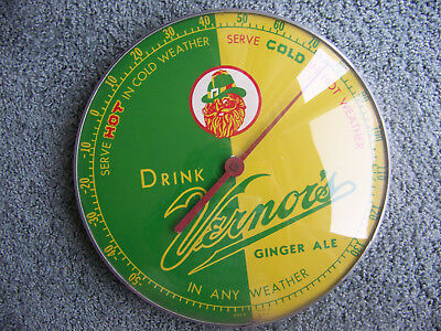 Vintage Advertising DRINK VERNOR'S Round Metal Glass Thermometer Sign