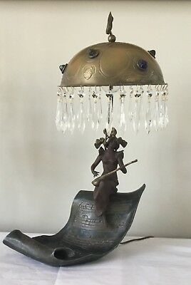 Antique Art Nouveau Chunk Glass Jeweled Shade Fairy Musical French Figural Lamp