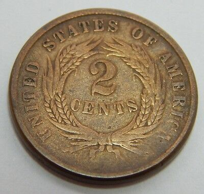 1866 US Bronze Two Cent Coin  2¢ Piece   - Post Civil War Era Coinage