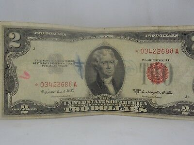 1953-B $2 STAR NOTE United States Red Seal Two Dollar Bill US Currency . (AA-68)