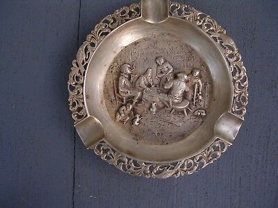 """Silver Plate Ashtray. Holland  Vintage) """"look At The Marks )."""