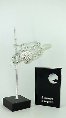 CHRISTOFLE Silver Plate Reed Warbler Bird Lumiers D'Argent Lace w/ Marble Stand