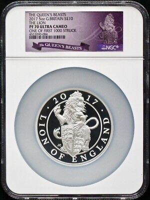 2017G Britain Silver 5Oz Queens Beast The Lion NGC PF70 One of First 1000 Struck