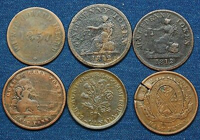 Canada - 6 Old Copper Tokens Dated Dated 1812-1857