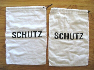 """Lot of 2 SCHUTZ IvoryOff White Drawstring Shoe Dust Bags  approx 15"""" x 10 1/2"""""""