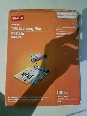 "Staples write-on transparency film 8.5 x 11"" 100 sheets"