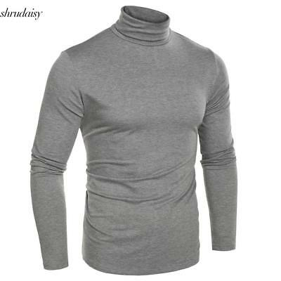 New Men Fashion Slim Fit Thermal Underwear Turtleneck Long Sleeve Solid T-Shirts
