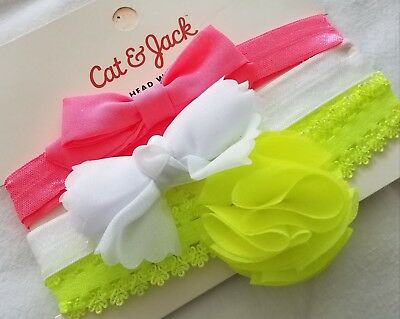 NEW 3 Strech Headband Girls Children Kids Toddler Cat & Jack Peach White Yellow