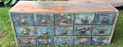 Antique Rustic 15 Drawer Cabinet card catalog tools Shabby Chic Country
